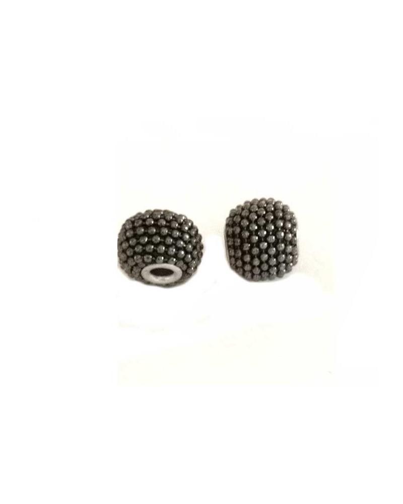 Perle d'indonésie 15x12mm anthracite X 1