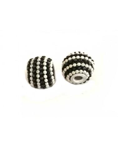 Perle d'indonésie 15x12mm noir et blanc X 1