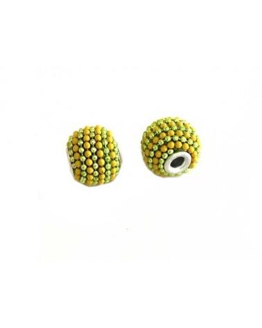 Perle d'indonésie 15x12mm vert jaune X 1