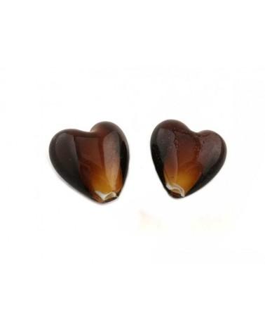 Coeur verre 23-27mm marron x1