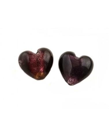 Coeur verre 23-27mm prune x1