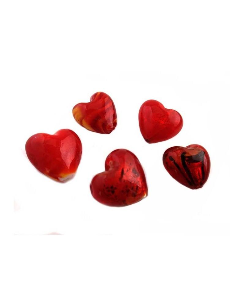 Coeur verre 23-27mm rouge x1