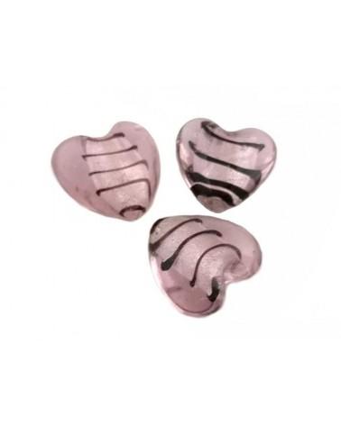 Coeur verre 30-35mm rose décoré x1