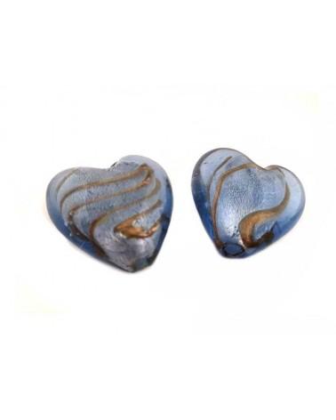 Coeur verre 30-35mm bleu décoré x1