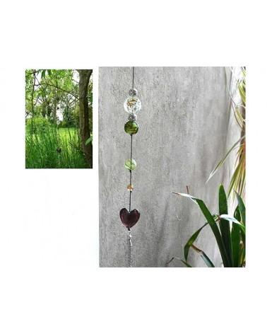 Coeur verre 30-35mm blanc décoré x1