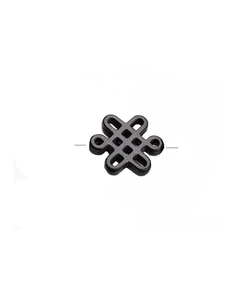 Noeud chinois perle imitation howlite 28x24mm noir x1