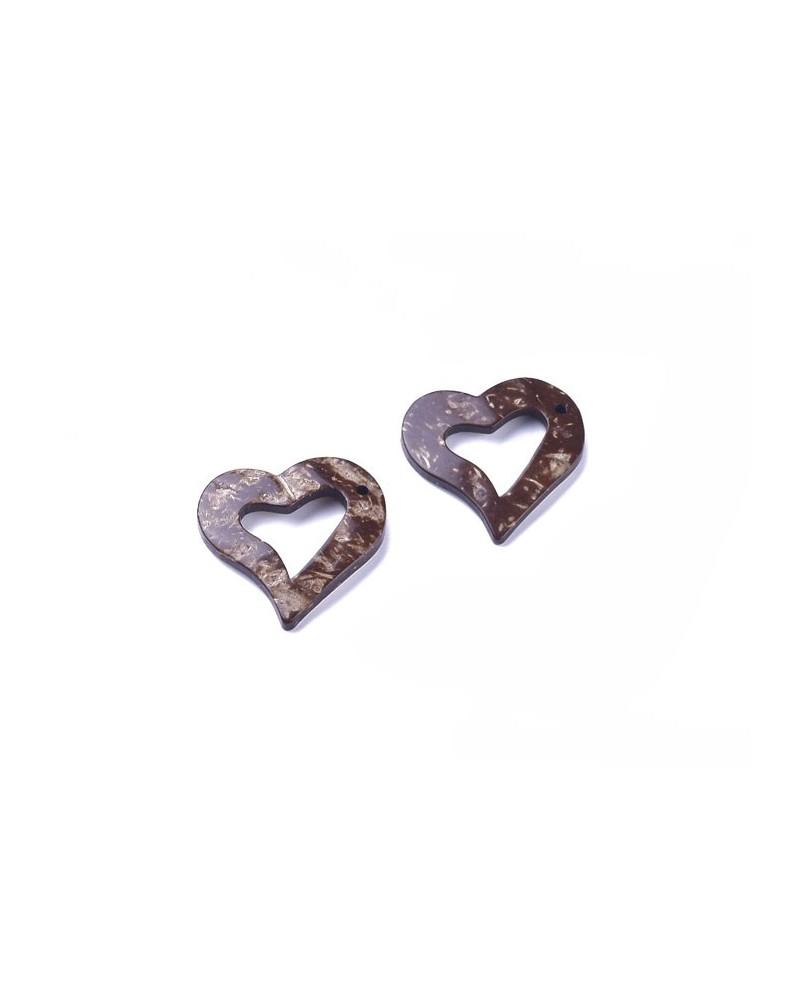 Pendentif coeur coco 33mm naturel x 1