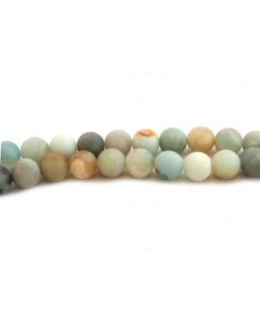 Amazonite 8mm mat bleu mix X 10
