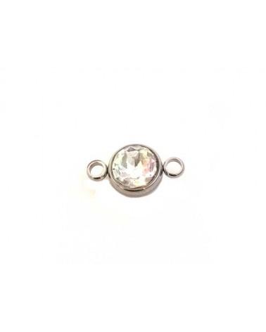 Intercalaire rond 2 anneaux cristal AB acier inox x1