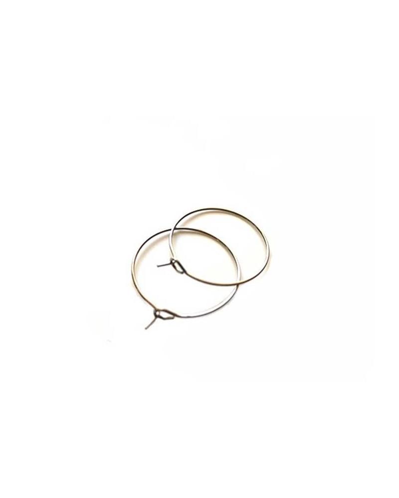 Créoles 40mm acier inox 304 anneau central x 2