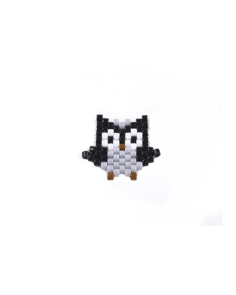 Intercalaire tissé en perles Miyuki Hibou noir x1