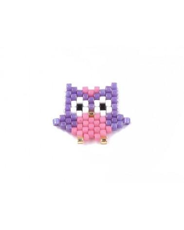 Intercalaire tissé en perles Miyuki Hibou violet rose x1