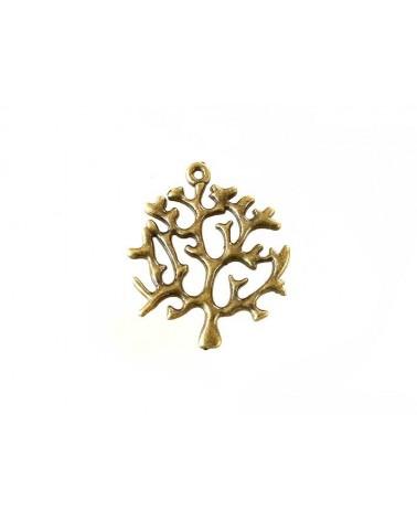 Pendentif branche décor gorgone 43x39mm bronze x1