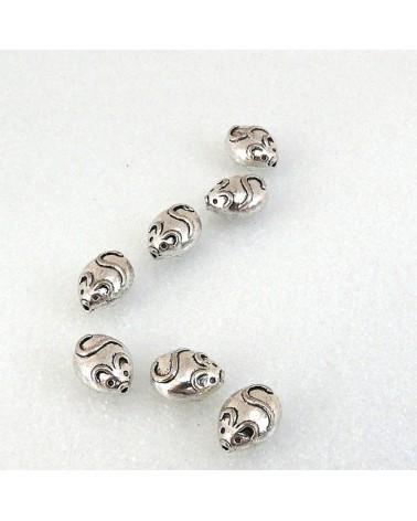 Perle petite SOURIS 11 x 9 mm en métal argenté x1