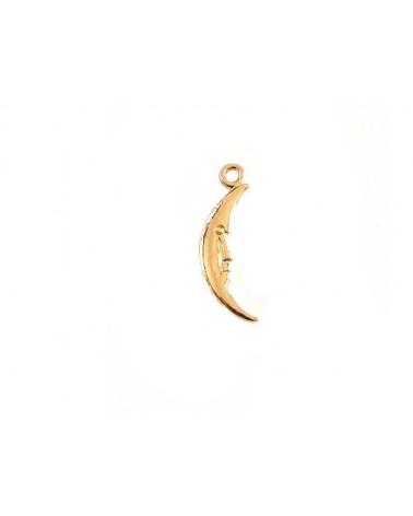 Pendentif demi lune 29x6mm doré rose pâle x1
