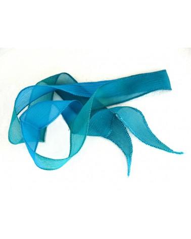 Ruban pure soie teint à la main Bleu turquoise et Vert environ 90cm