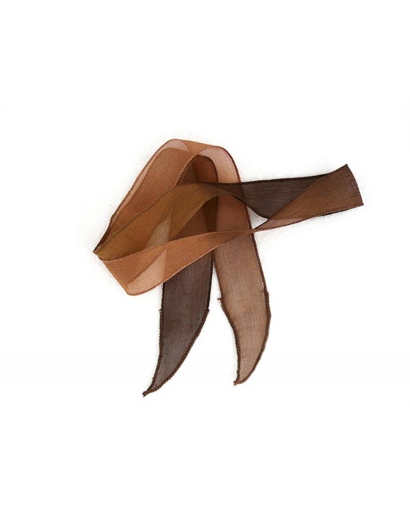 Ruban pure soie teint à la main Caramel chocolat environ 90cm