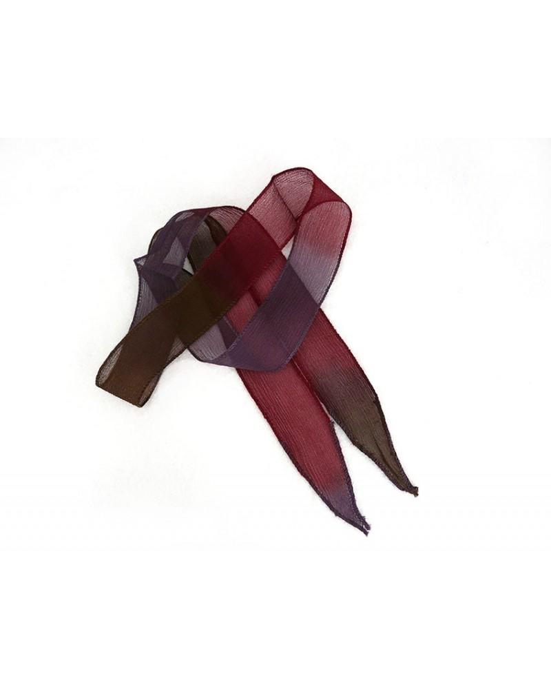 Ruban pure soie teint à la main kaki bordeaux violet environ 90cm