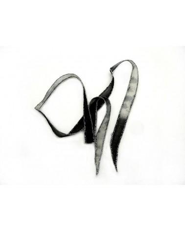Ruban pure soie teint à la main Noir et Gris bordé Argent 86 cm