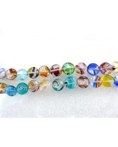 Perles en verre MILLEFIORI 10 x5 mm couleurs mélangées par 10