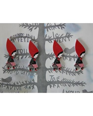 Petit CHAPERON rouge en bois 42 x 13mm