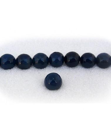 Agate 10mm bleu soutenu facettée par 5