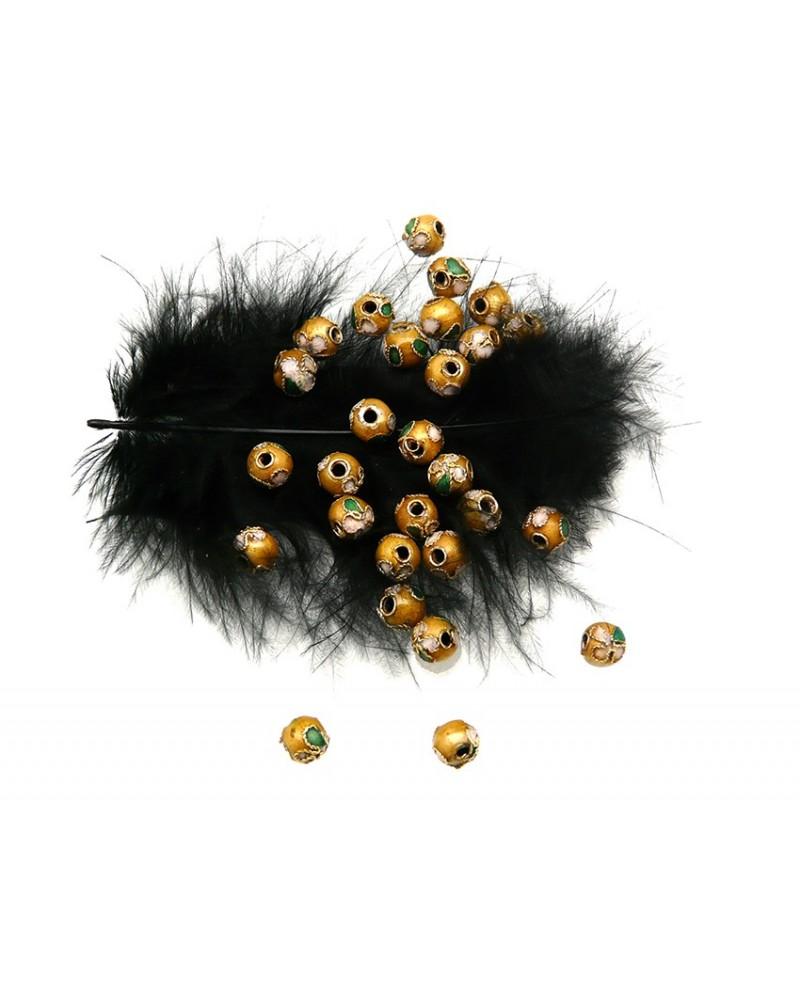 Perle CLOISONNEE filigrannée 6mm, JAUNE DORE x 1 ou par 20