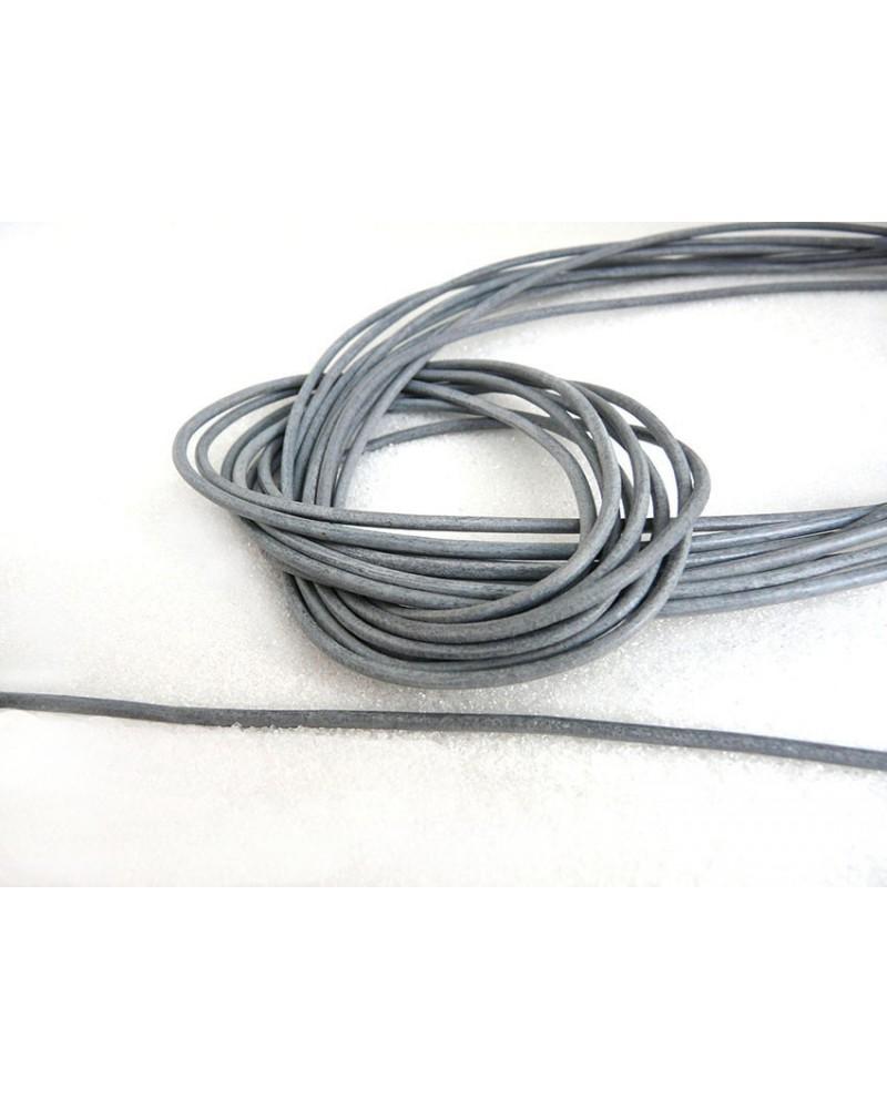 Cordon cuir Gris 2mm x 105 cm x1