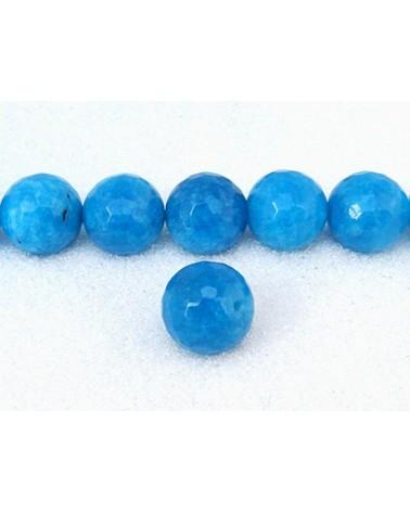 Agate feu 14mm bleu turquoise facettée