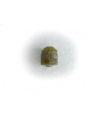 Tête en Pierre Sculptée 18x15mm  VERT