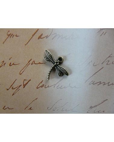 Breloque libellule bronze x1