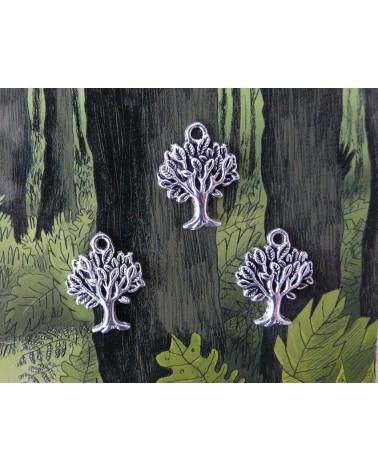 "Breloque, charm arbre""grand-chêne"" 22x11mm-argent x1"