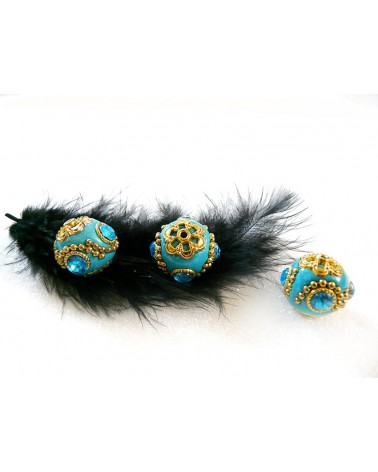 Perle d'indonésie ronde 19 mm BLEU turquoise munie de 4 strass x1