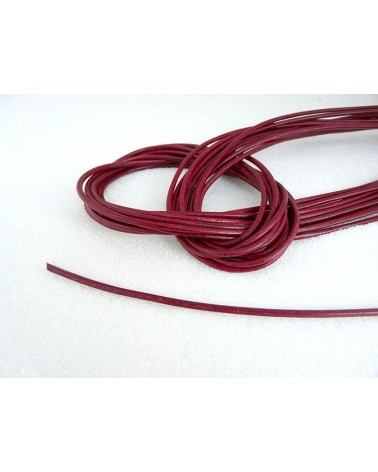 Cordon cuir de chevreau rouge lie de vin 1.5mm x 105cm