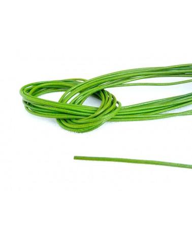 Cordon cuir de chevreau Vert prairie 1.3 - 1.5mm x 105cm x1