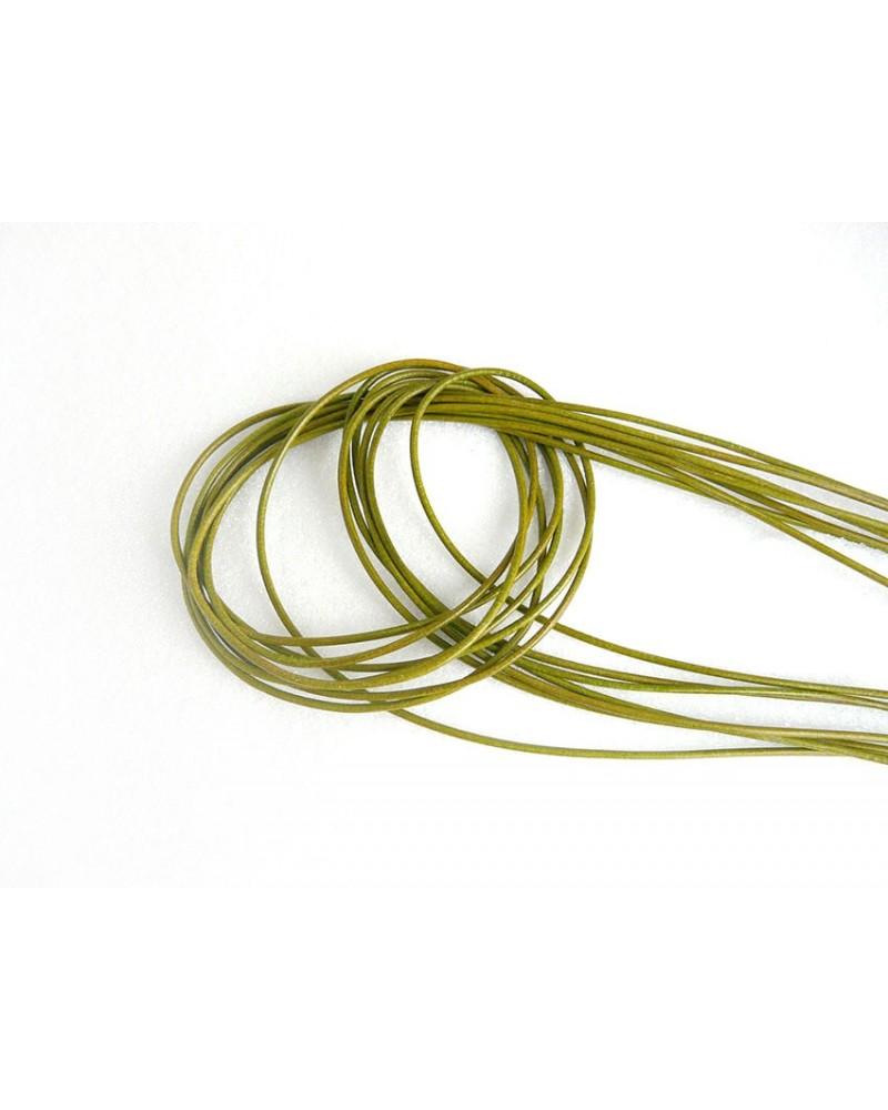 Cordon cuir de chevreau Vert olive/kaki 1.3 - 1.5mm x 105cm x1