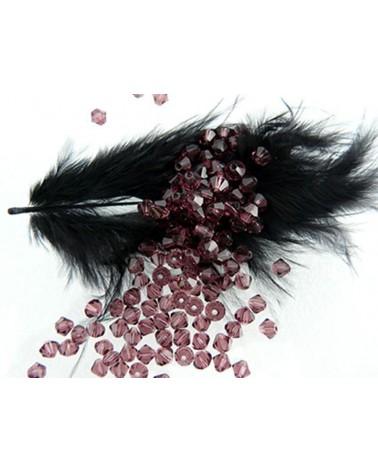 Toupies en cristal de Bohême 4mm VIOLET- Dark Amethyst x 25