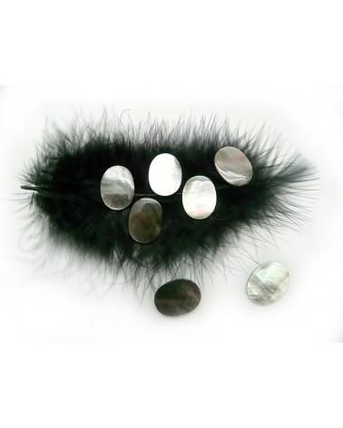 Cabochon ovale en nacre noire 15x20mm