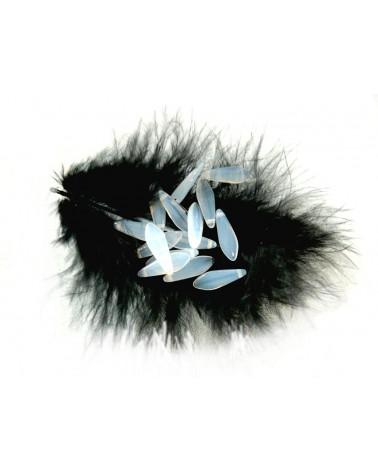 Dague en verre de Bohême 5 x 16mm OPALE BLANCHE X10